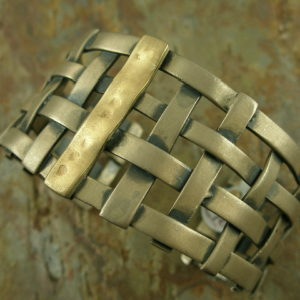 Woven Unique Sterling/14k. Cuff Bracelet-0