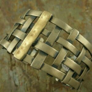 Woven Unique Sterling/14k. Cuff Bracelet-0