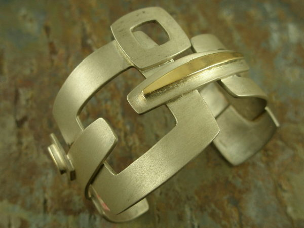 Signed in Designer Sterling/14k. Statement Bracelet-0