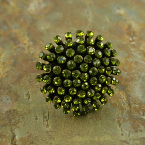 Lime Burst Crystal Fashion Statement Ring-0