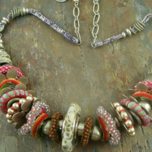 Limited Edition Designer One of a Kind Fabric Necklace-0