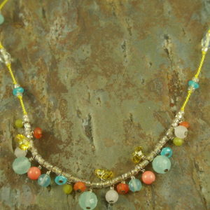 Handcrafted Chalcedony NecklaceDainty Dancing -0