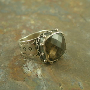 Smoke Gets in Your Eyes Handcrafted Sterling and Stone Ring-0