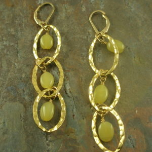 Sweet Pea Handcrafted Unusual Golden Long Earrings-0