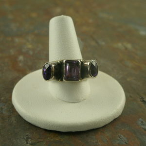 Purple Peek Sterling and Amethyst Ring-0