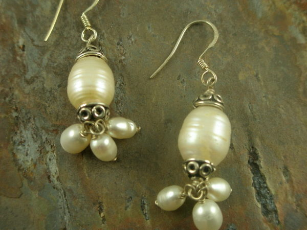 Purity Fresh Water Pearl Cluster Earrings-0