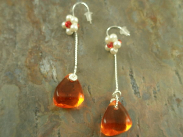 Orange Drops Handcrafted Resin Long Earrings-0