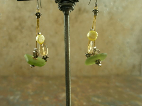Pearl Feeder Handmade Sea Glass Earrings-0