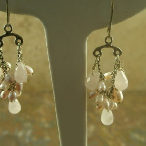 Pink Posey Semi Precious Chandelier Earrings-0