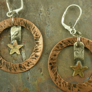 Handmade Copper and Sterling EarringsStarlight -0