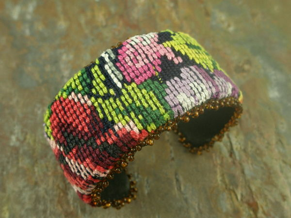Woven 5 Handmade Fabric Needlepoint Bracelet-0