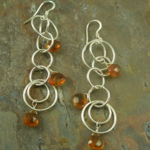 Dripping with Honey Sterling and Stone Long Earrings-0