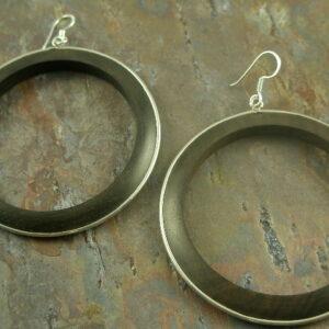 Ring of Wood Statement Hoop Earrings -0