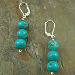 Native Color Natural Turquoise Sterling earring -0