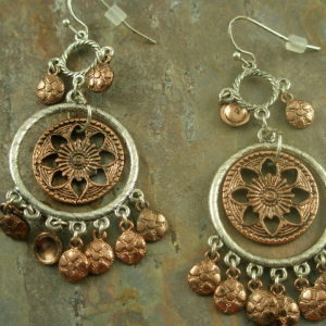 Copper Flower Fashion Chandelier Earring-0