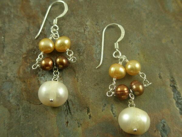 Two Tears Multi Pearl Sterling Earring-0