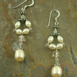 Pretty Miss Pearl and Crystal Dangle Earring-0