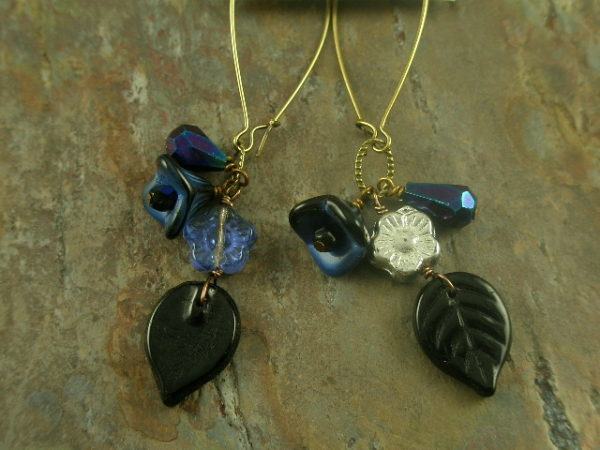 Blue Violet Handmade Long Earrings-0