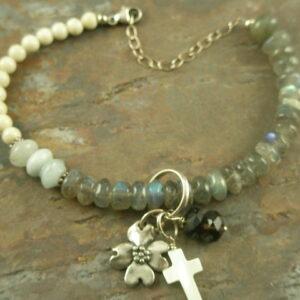 Graduated Handmade Stone Bracelet/Charms/Cross-0