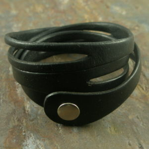 Black Wrap Handcrafted Leather Bracelet-0