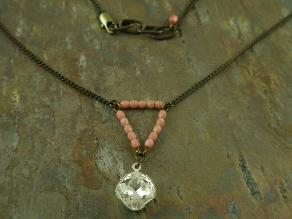 Emma Glass Bead/Crystal Vintage Necklace-0
