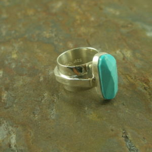 Make Mine Big Designer Turquoise Sterling Contemporary RingLilly Barrack-0