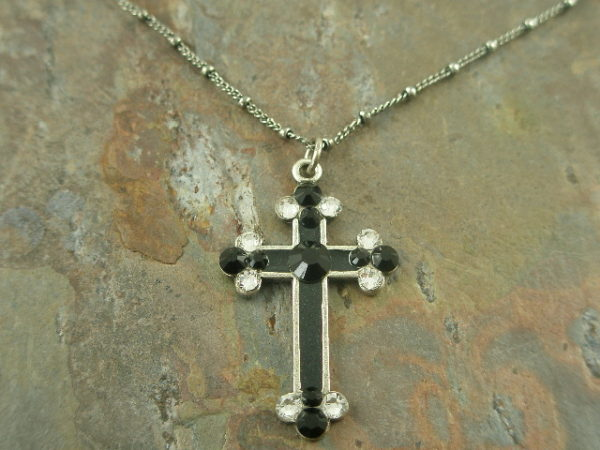 From Black to White Crystal Cross Fashion Necklace-0