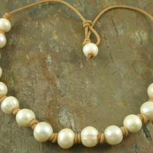 Leather Love Handmade Pearl Necklace-0