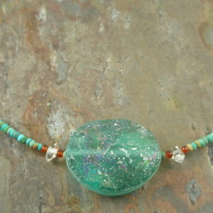 Roman Glass Handcrafted Necklace Turquoise Meets -0