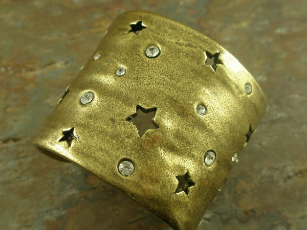 The Night Sky Eclectic Brass/Crystal Statement Cuff Bracelet-0