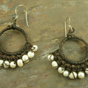 Waxed Cotton Pearl Hoop Earring-0