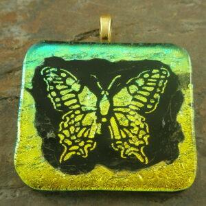 Glitter Fly Dichroic Glass Pendant-0