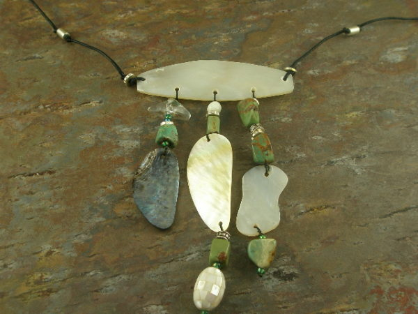 Paradise Island Handmade Shell and Turquoise Tribal Necklace -0