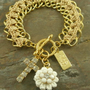 Golden Charms Italian Toggle Cross Bracelet-0