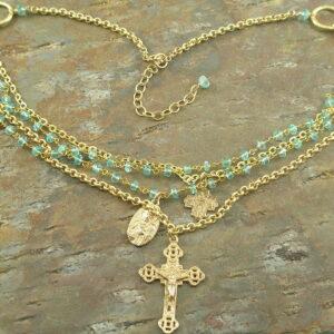 Divine Love Handcrafted Vintage Cross Necklace-0
