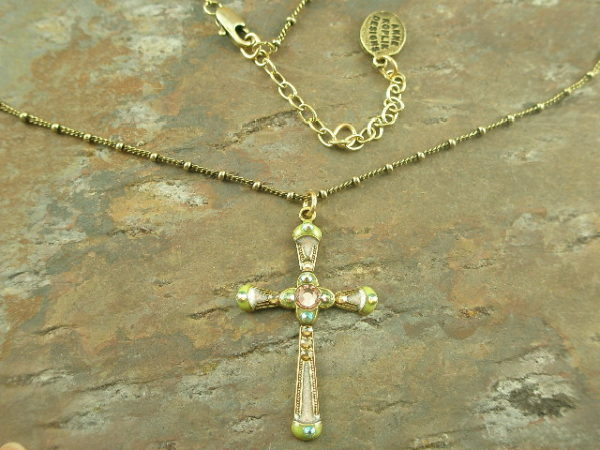 Thin is Beautiful Fashion Cross Crystal Necklace-0