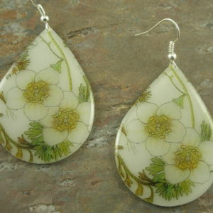 White Blossoms Resin Statement Earrings-0