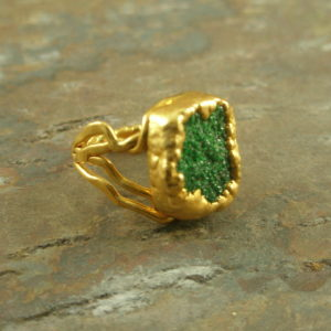 Emerald Forest Drusy Golden Fashion Ring-0