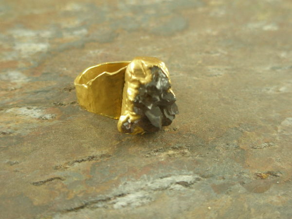 In The Rough Drusy Golden Fashion Ring-0