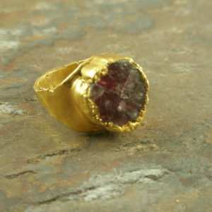 Rosy Glow Drusy Golden Fashion Ring-0