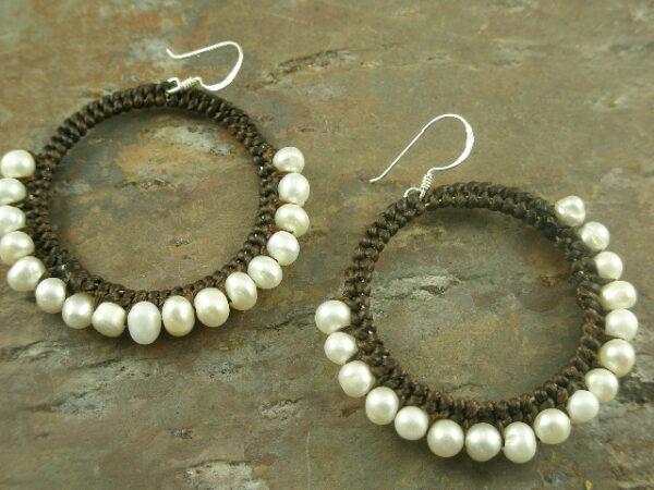 Half Way Around Pearl Hoop Earrings-0