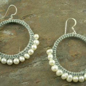 Half Way Around Pearl/Woven Hoop Earrings-0