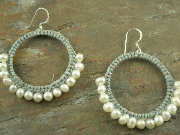 Half Way Around Pearl/Woven Hoop Earrings-0