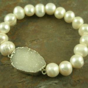 Pina Colada Please Drusy/Pearl Stretch Bracelet -0