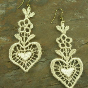 Laced in Love Fabric Dangle Earrings-0