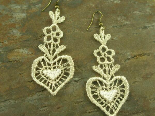 Laced in Love Fabric Dangle Earrings-0