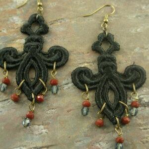 Black Widow Fabric Chandelier Earrings-0