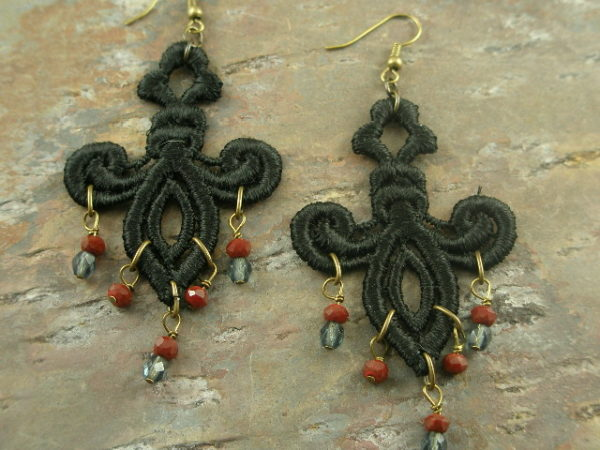 Black Widow Fabric Chandelier Earrings-0