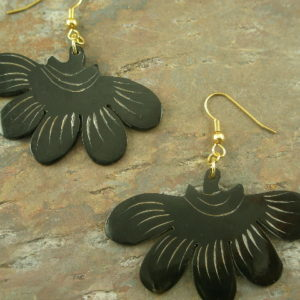 Natural Buffalo Horn EarringsBlack Widow -0