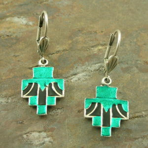 Stop Here For Teal Enameled Earrings-0